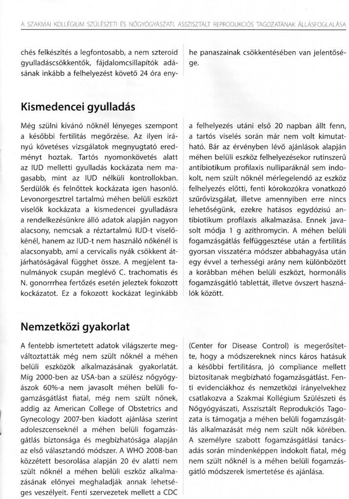 3. oldal - Kismedencei gyulladás, nemzetközi gyakorlat